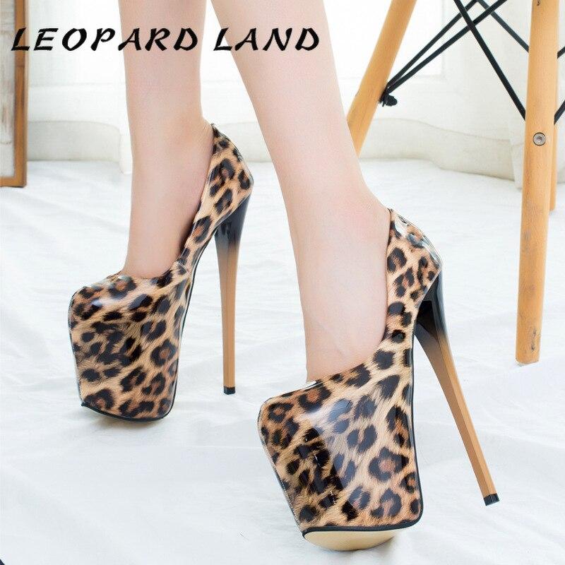 Zapatos de tacón de aguja alto con punta redonda de leopardo para mujer de 22cm de leopardo de talla grande 43 MJL-6678-A1