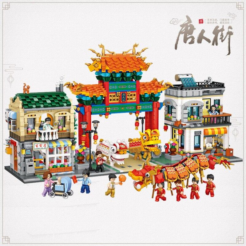 Nuevo LOZ. chinatown 1030 chino tradicional cultura bloques de construcción dragón danza del león/Vista de la calle arquitectura regalos 3581 Uds