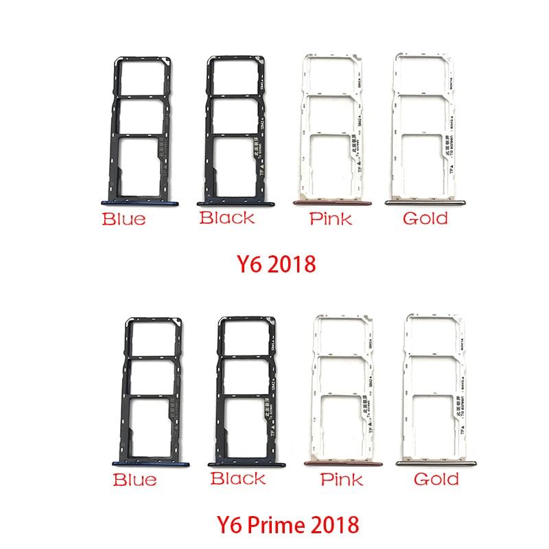 10Pcs/Lot, Sim Card slot tray Holder For Huawei Y6 Y7 Prime Y9 2018 SIM Card Tray repair part
