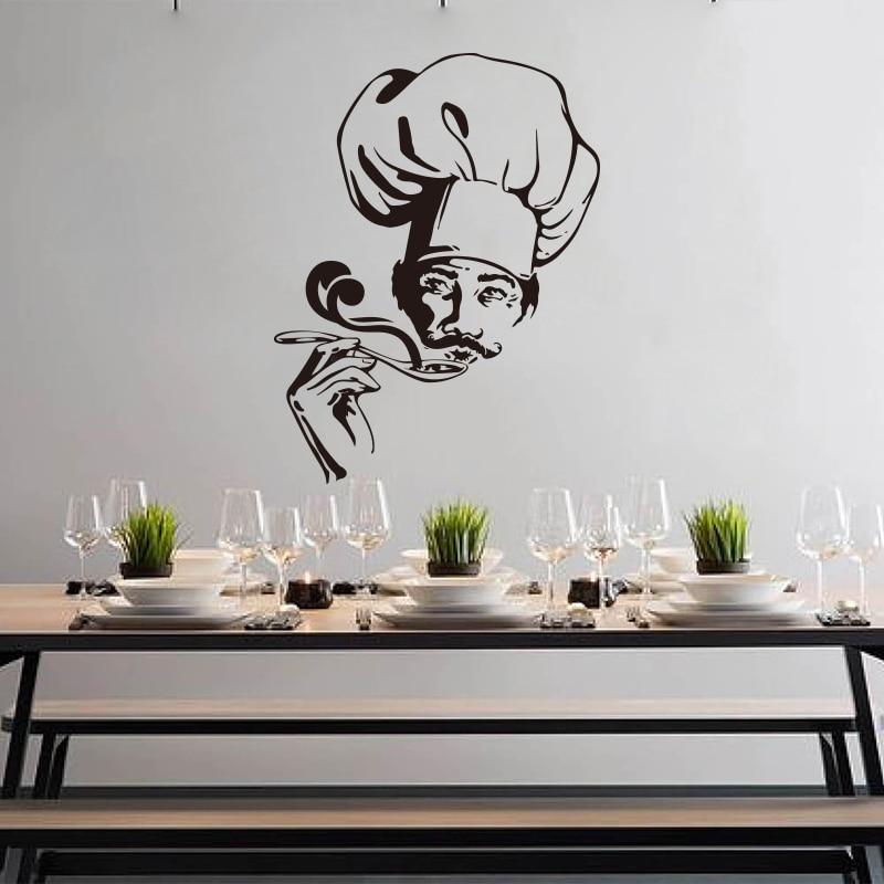 Calcomanía de pared moderna para Chef, sopa, cocina, comedor, cocina, cocinero, calcomanía de pared, decoración de vinilo para restaurante