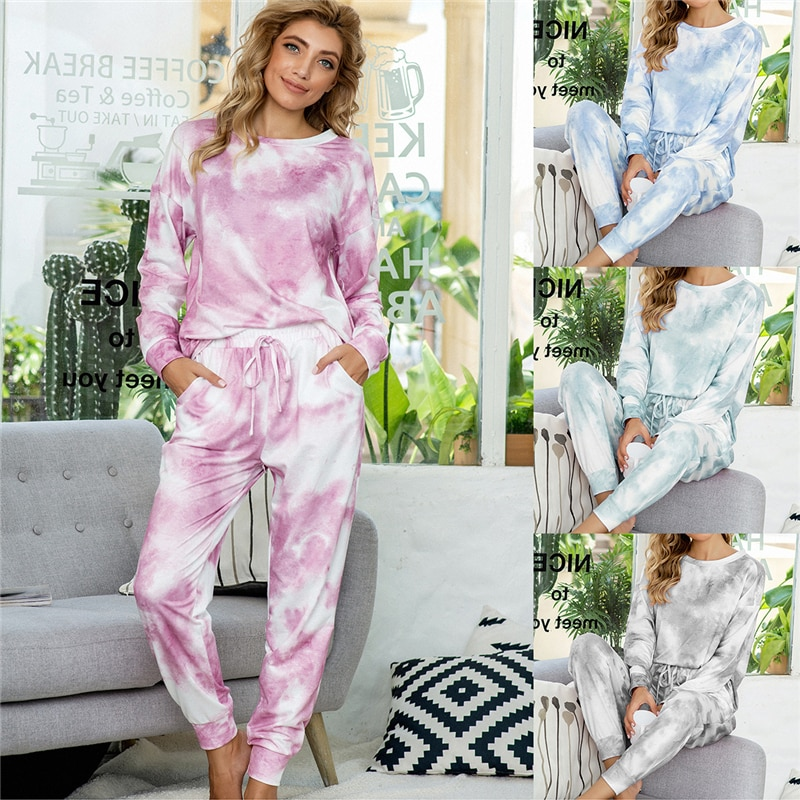 Women's pajamas set casual tie-dye printed pajamas autumn and winter long-sleeved simple natural Homewear suit JJF0041