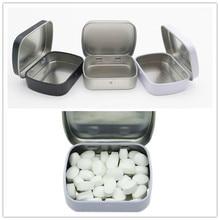 Caja para pastillas de viaje rectangular de Metal y plata portátil, soporte para medicamentos, caja para cápsulas y tabletas de dispensación, 1 unidad