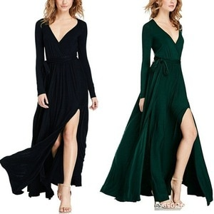 2021 spring and summer black dark green long sleeve V-neck solid sexy lace up patchwork temperament commuter elastic waist dress