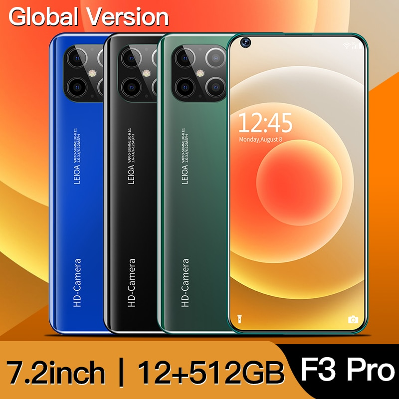 Global Version F3 Pro 5G Smartphone 12GB 512GB 7.2 inch MTK 6899 16MP+32MP 4Gnetwork Mobile Android Phones CellPhone celulares