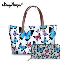 Brand Luxury Designs 2pcs Handbags Set for Women Butterfly Prints Beach Totes Bags Ladies Hand Bag PU Purse Females Dropshipping