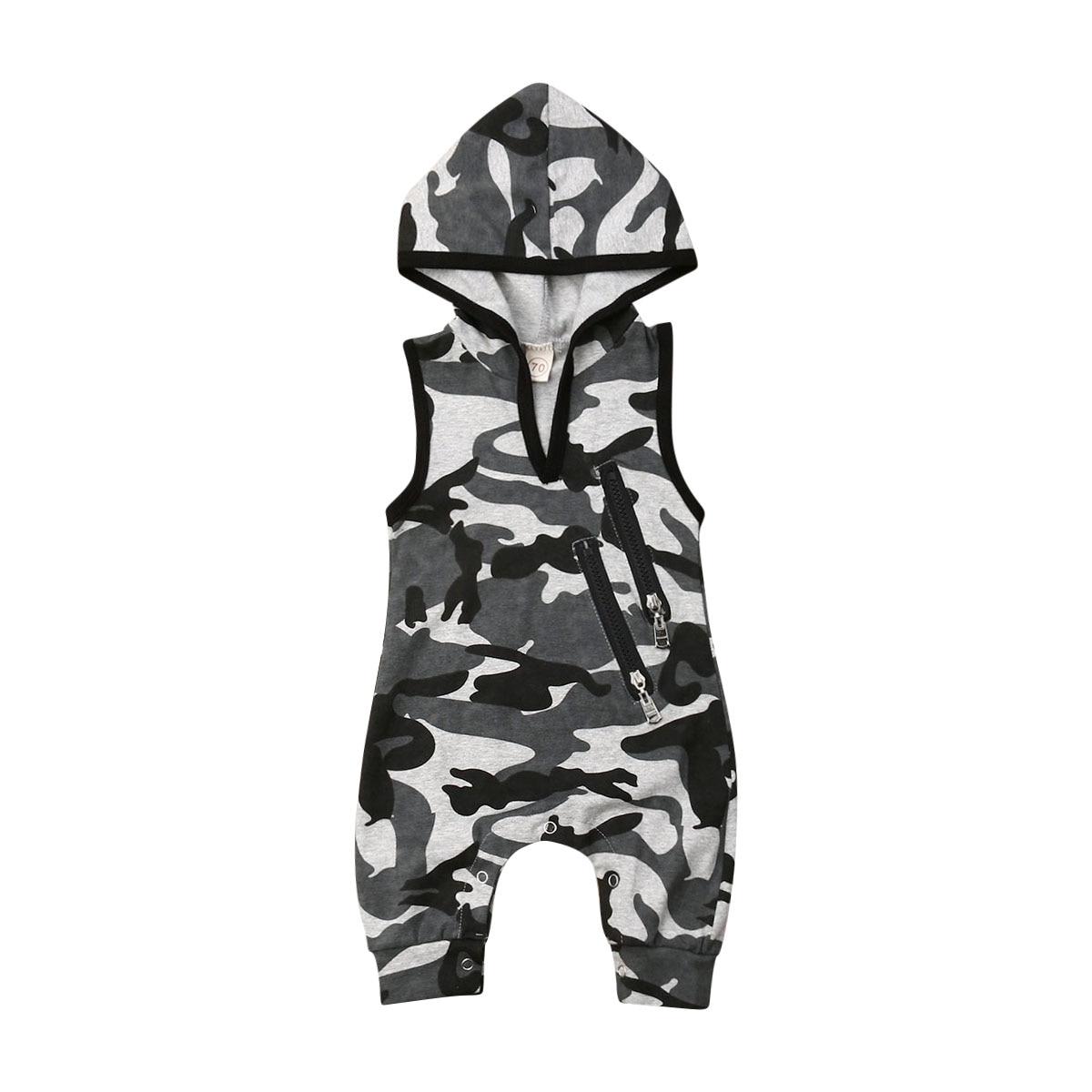 0-24M Summer Clothing Toddler Baby Boy Hooded Newborn Rompers Baby Camouflage Print Sleeveless Zip Jumpsuits Fashion