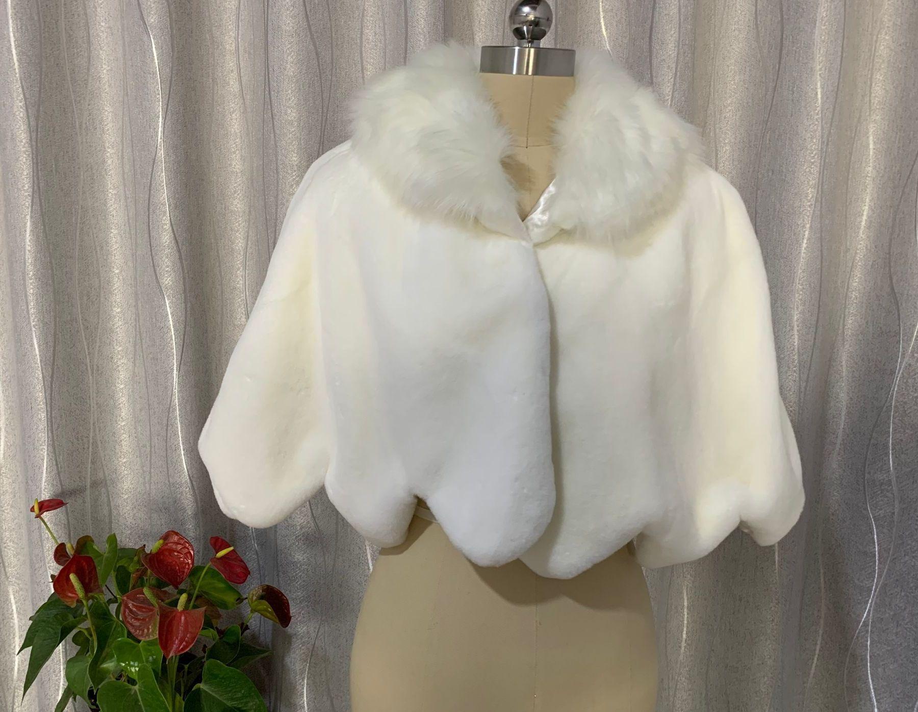 Женская свадебная накидка, зимняя теплая накидка из искусственного меха, короткая накидка