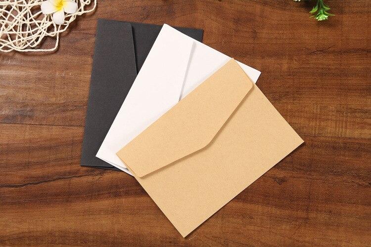 10 шт./компл. Классическая коричневая белая черная крафт-бумага пустая мини-бумага оконные конверты свадебные приглашения конверт Подарочны...