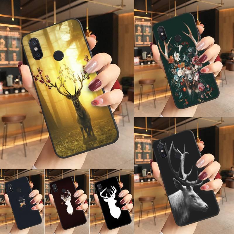 Yinuoda Animal cerf Art noir étui de téléphone souple housse de téléphone pour Redmi K20 Note 5 7 7a 6 8 Pro note 8T 9 Xiaomi Mi 8 9 SE
