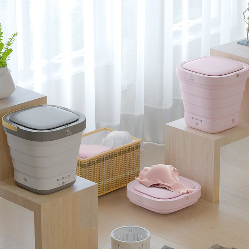 2 In 1 Portable Foldable Electric Washing Machine Mini Folding Automatic Clothes Washing Machine Underwear Washer And Dryer Home enlarge