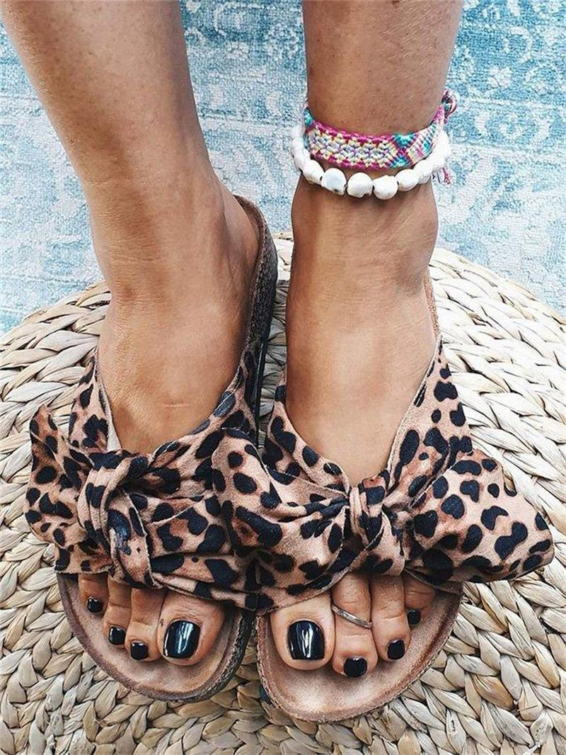 2021 New Women's Shoes Fashion Casual Solid Color Leopard Print Cloth Bow Open Toe Thick Bottom Summer All-match Sandals 6KF145