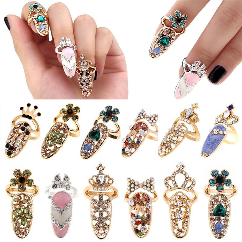 Joyería de moda Bowknot Nail Ring Charm corona Flor de cristal dedo anillos de uñas para mujeres señora Rhinestone Fingernail protector