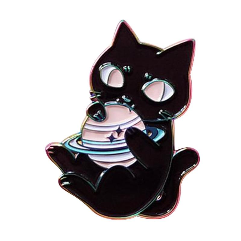 Espaço astronomia gato cósmico esmalte broche