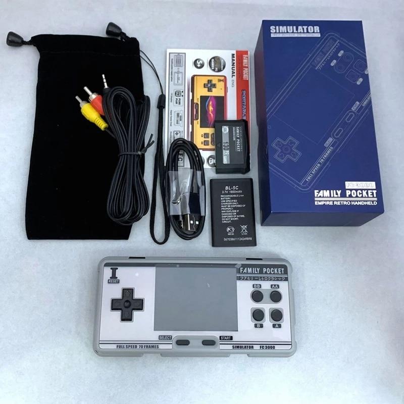 FC3000 الكلاسيكية وحدة تحكم بجهاز لعب محمول الفيديو الألعاب وحدة التحكم 8 بت 2 جرام الذاكرة محاكاة المحمولة الأطفال اللون لعبة الرجعية