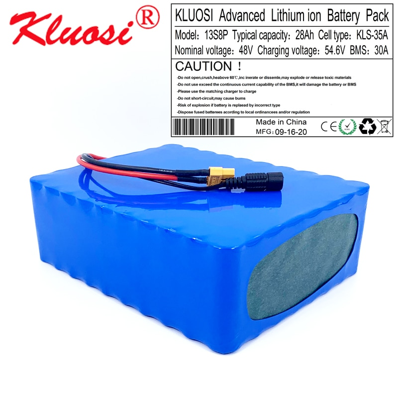 Kلويسي 48 فولت 28Ah 13S8P 48 فولت بطارية 1200 واط 54.6 فولت بطارية ليثيوم أيون حزمة مع 30A BMS ل سكوتر بموتور كهربائي سيارة Ebike دراجة