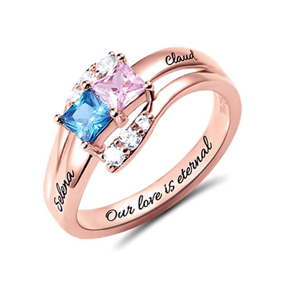 Uonnie-خاتم محفور مخصص بأحجار الميلاد ، أفضل هدية لعيد الحب ، لون ذهبي وردي فضي ، توصيل محلي