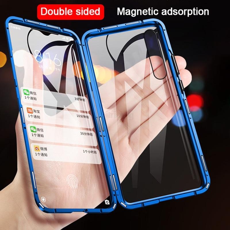 Double Sided Magnetic Metal Case For Redmi Note 9 9S 8 8T 7 Pro 8A K20 Xiaomi 10 9SE 9T 9Lite CC9 CC