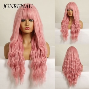 JONRENAU 26 inches Long pink Wig with Air Bangs Silky Full Heat Resistant Synthetic Wigs for Women Party Cosplay Body Wavy