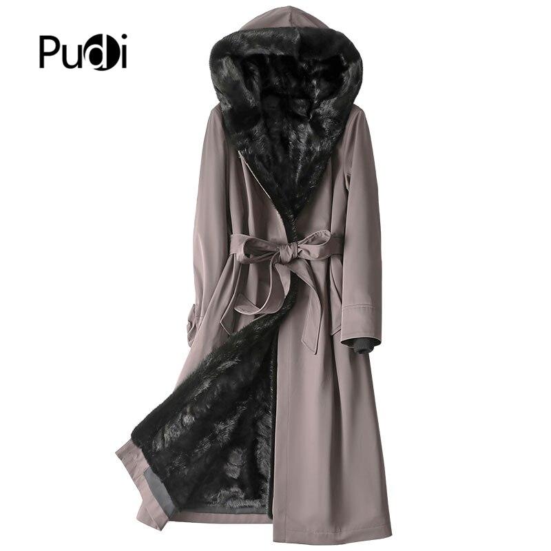 PUDI المرأة ريال فرو منك سترة خندق الشتاء الإناث الدافئة الفراء بطانة هود معطف سترة A11008