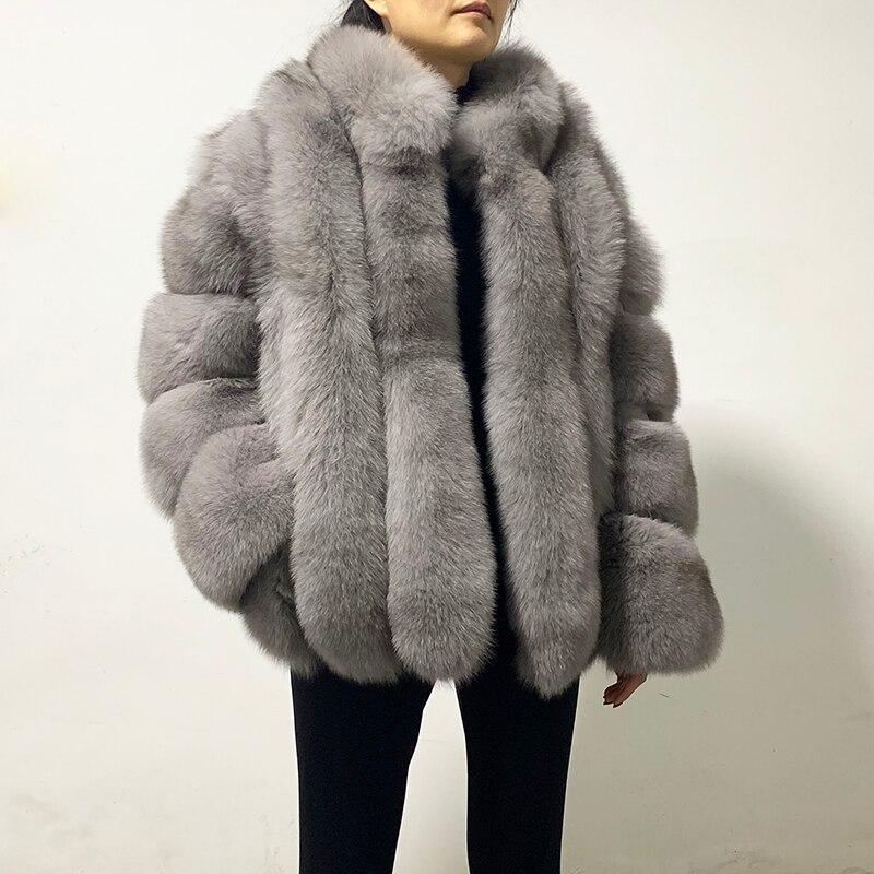 معطف فرو ثعلب حقيقي للنساء ، ياقة واقفة ، مع خطوط عمودية ، فرو طبيعي ، rf2096
