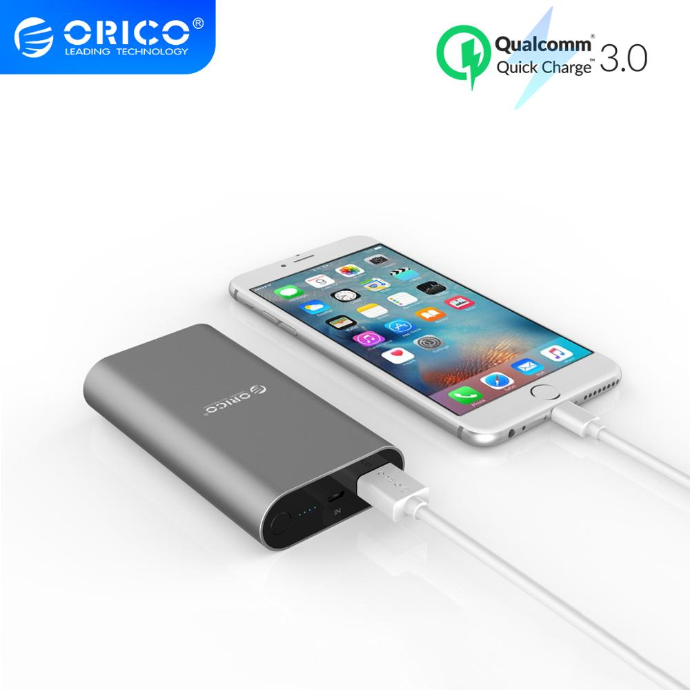 Batería externa portátil ORICO de carga rápida 3,0 10050mAh carga rápida para iphone Xiaomi Smartphone Powerbank