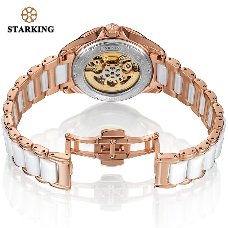 STARKING Womens Mechanical Watch Automatic Self-wind Wrist Watch 50M Waterproof Ceramic & Steel Female Clock Vintage Timepieces enlarge