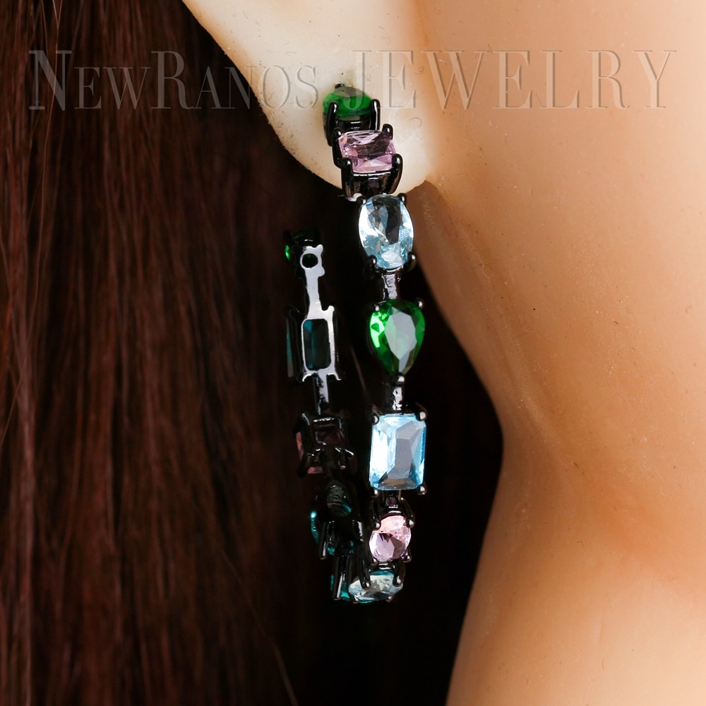 Newranos Große Hoop Ohrringe Mehrfarbige Natürlichen Kristall Stein Ohrringe Kreis Runde Erklärung Ohrringe Fashino Schmuck EFX001442