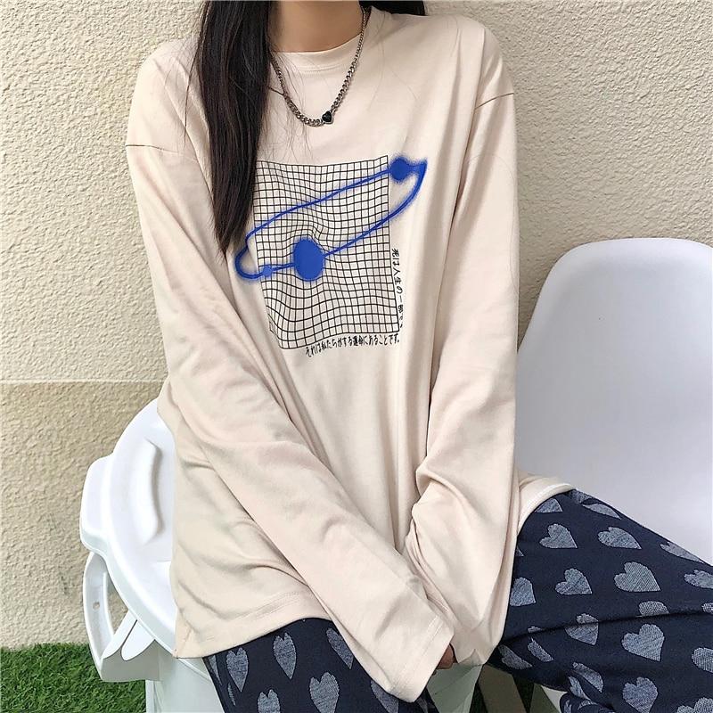 2021 Spring New Korean Student Retro Planet Surrounding Printing Loose Bottoming Long Sleeve T-shirt