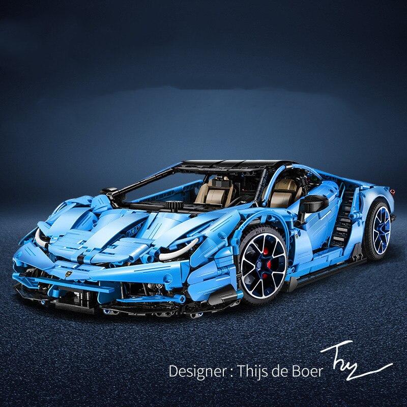 انقر لبناء سيارة رياضية زرقاء عالية الصعوبة سباق نموذج بقرة كبيرة لغز تجميع بناء لعبة المكعبات متوافق مع ليغو
