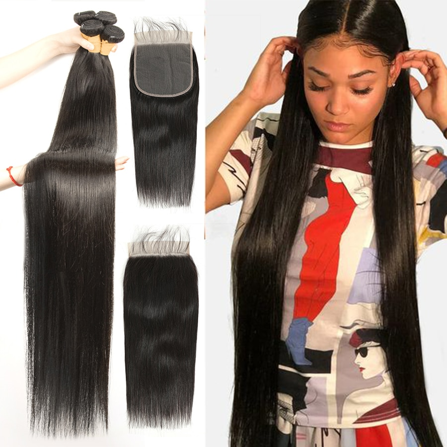 FDX Straight Bundles With 6x6 Lace Closure Brazilian Hair Weave Bundles With Closure Human Hair Bundles With Closure Remy Hair