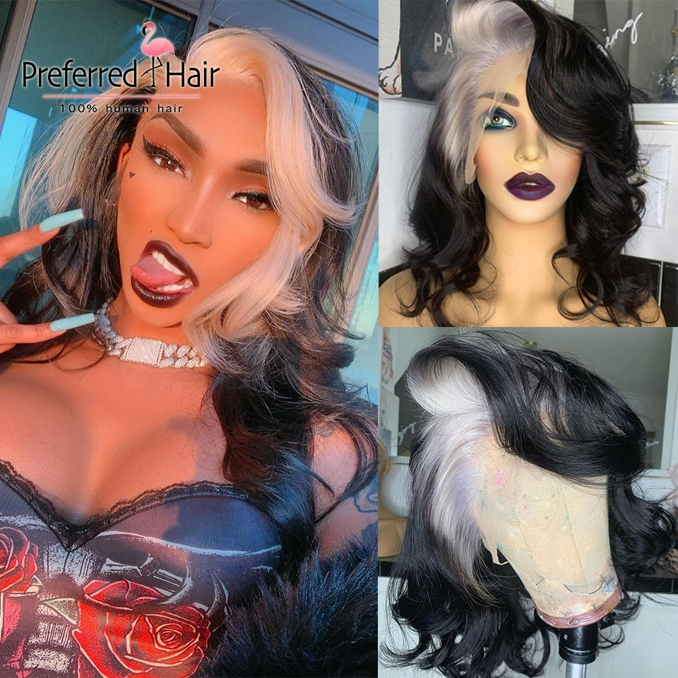 Preferred Platinum Blonde Highlight Wig Brazilia Remy Pink Lace Front Human Hair Wigs PrePlucked Tranaparent Lace Wigs for Women