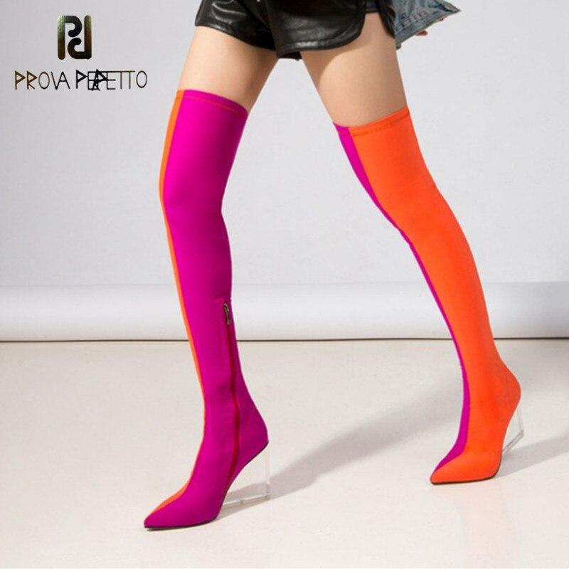 Prova perfetto elástico meias botas femininas saltos transparentes cunhas dedo do pé apontado com zíper sapatos de pista feminina sobre o joelho botas