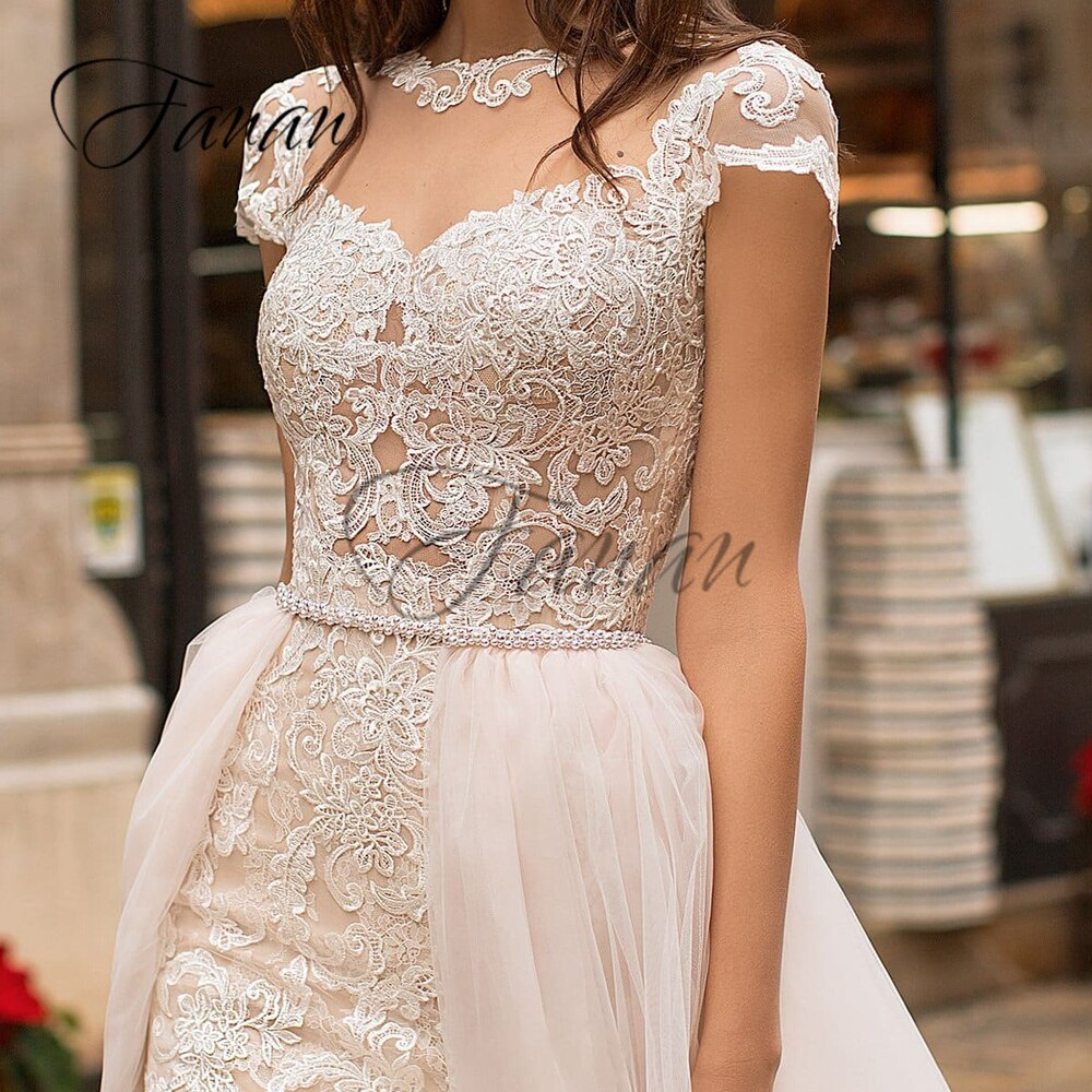 O-Neck Short Sleeve Lace Appliques Mermaid Wedding Dresses Detachable Train Court Train Bridal Gown Свадебное платье vestidos
