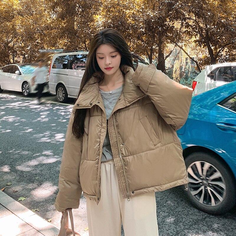 Парка зимняя женская одежда толстая 2021 Осенняя однотонная женская куртка оверсайз с воротником-стойкой и сумкой свободные парки