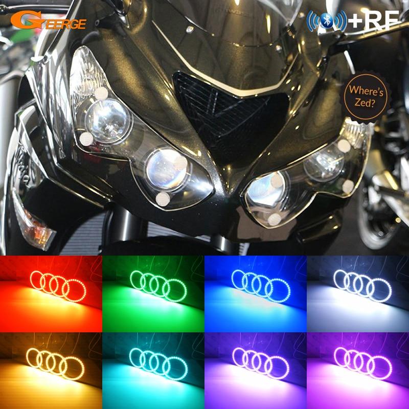 Para Kawasaki NINJA ZX14R ZZR1400 2012-2018 RF controlador Bluetooth Multi-Color Ultra brillante RGB kit de luces LED Ojos de Ángel