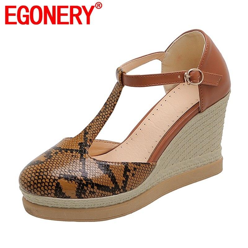 EGONERY Sexy women's Shoes 8cm High Heels t-strap Pumps Summer Spring Snakeskin Print Round Toe Wedge Platform Shoes