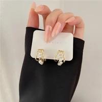 simple multi layers pearls ear rings metal twist luxury earrings