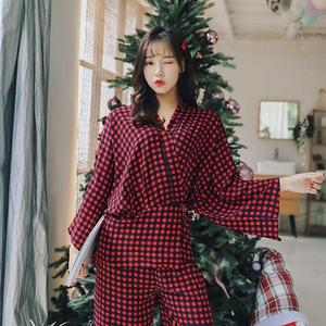 Ladies' pyjamas Sets 2 Piece Pj Set Spring Womens Top and Pants Casual Long Sleeve Kimono Shirts +Pants Pijamas Women Home Suit