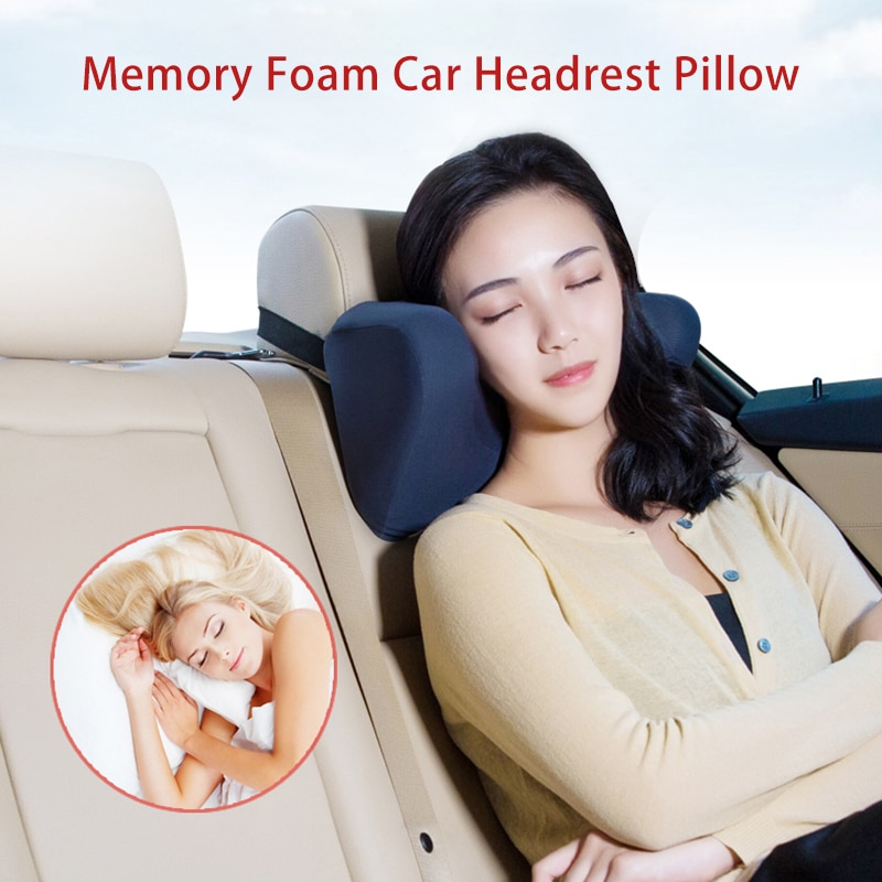 Car Headrest Neck Support Pillow Auto Seat For Memory Foam Cushion Travel Sleeping