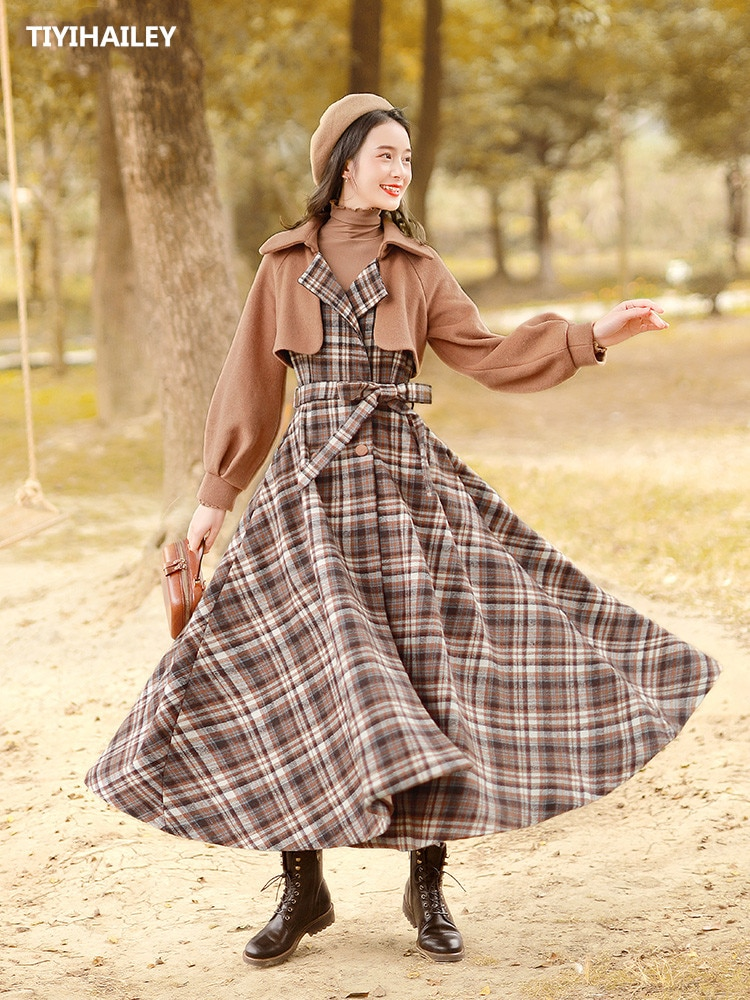Boshow-حزام طويل مربعات للسيدات ، ملابس شتوية ، ملابس خارجية ، بحاشية كبيرة ، صوف ، صدر مزدوج ، توصيل مجاني