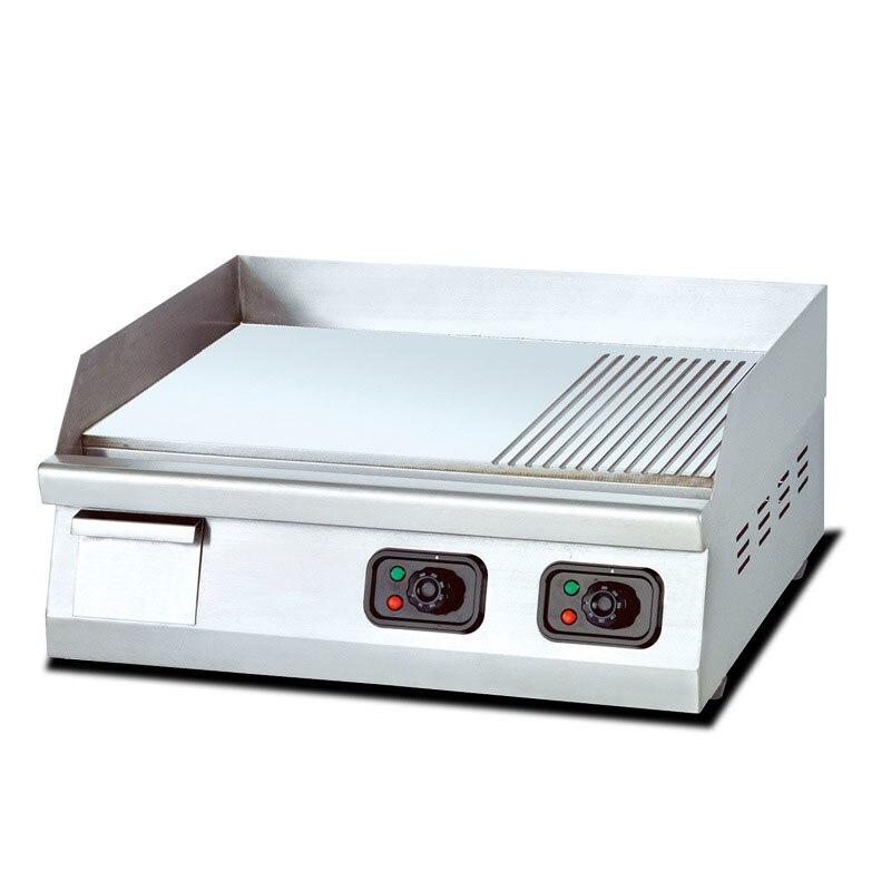 Electro-térmico de escritorio medio plano medio grano estufa de carne Teppanyaki horno de freír Control de temperatura independiente comercial