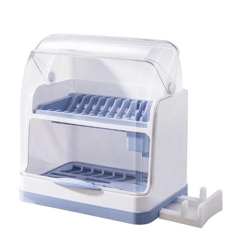 المطبخ مختومة طبق تخزين الرف طبقة مزدوجة سميكة أدوات المائدة صندوق تخزين الغبار واقية والحشرات استنزاف صندوق