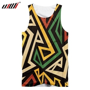 UJWI 3D New Printed Dinosaur Colorful Stitching Geometric Vest Fashion Street Style Men's Vest Summer Sleeveless Top Casual 6XL