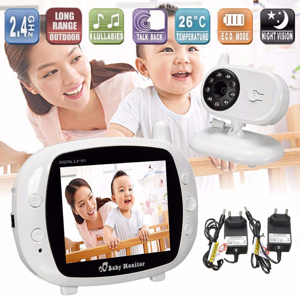 3.5 Inch Wireless Video Color Baby Monitor Music Baby Security Camera 2 Way Audio Talk Night Vision Temperature Babysitter