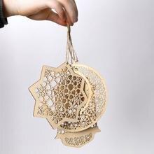 Lanterne en bois ajourée Eid Ramadan Mubarak   Décorations dorées en forme de lanterne, décorations dorées arrivée festives, bricolage de nouveaux baubourgs suspendus I4B0