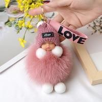 Помпон детский брелок для ключей милые пушистые плюшевые брелки куклы брелоки женские сумки для девочек брелоки в виде автомобиля Очароват...