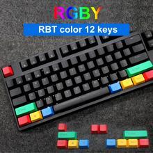 12 pièces/ensemble PBT résistant à la lumière couleur correspondant mécanique clavier Keycaps remplacement