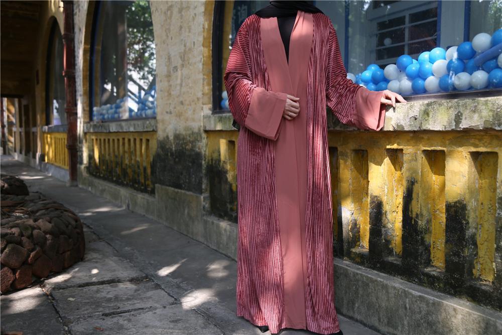 Luxury Muslim Velvet Abaya Pleated Dress Cardigan Tunic Long Robe Gowns Kimono Jubah Ramadan Arabic Turkish Thobe Islamic Prayer