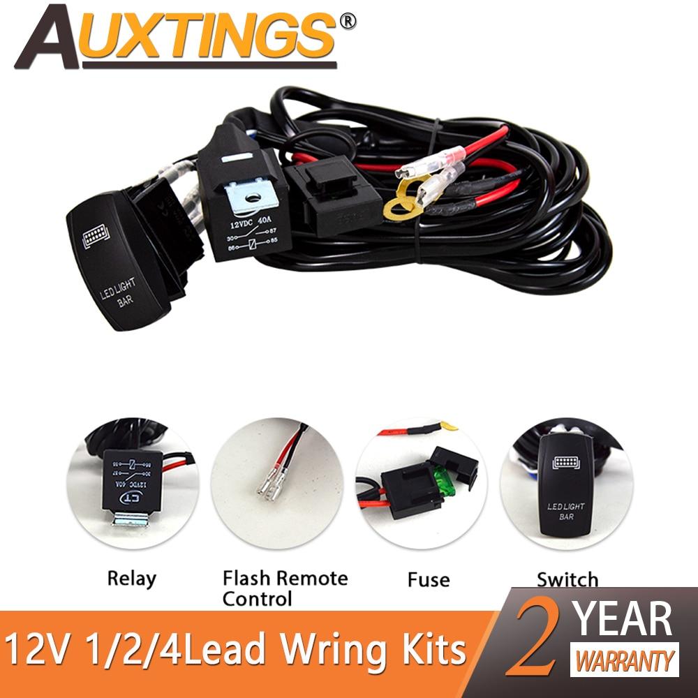 Auxting 1/2/4 chumbo cablagem relé 12v carro led barra de luz fio tear cabo kit fusível para condução automática offroad conduziu a lâmpada de trabalho