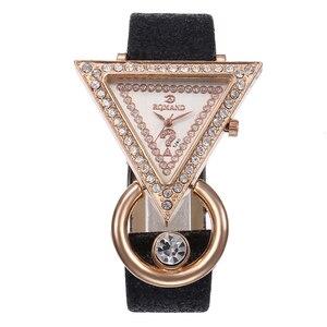 Rhinestone Tria-ngle Dial Shim-mer Faux Leather Band Women Quartz Wrist Watch New Ladies Dress Watches Gift Luxury